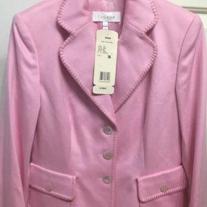 Escada Jacket.  Pink blanket stitch cashmere.